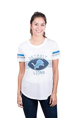 Icer Brands NFL Detroit Lions Women's Jersey T-Shirt Mesh Varsity Stripe Tee Shirt, X-Large, White
