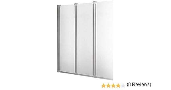Schulte - Mampara de bañera plegable con pared reversible, 3 persianas giratorias, cristal transparente, 124 x 130 cm: Amazon.es: Bricolaje y herramientas