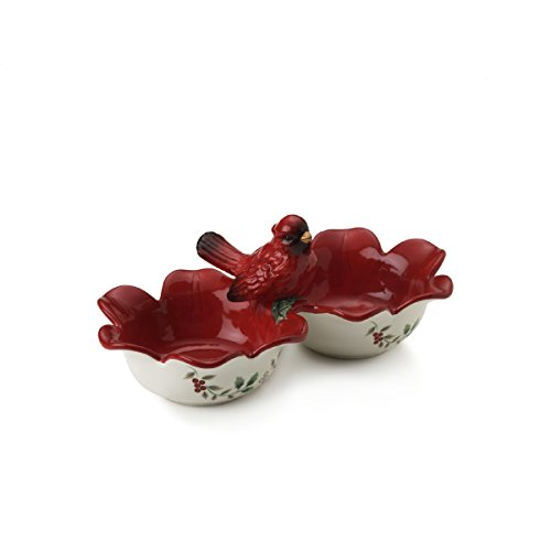 Pfaltzgraff Winterberry 2-Section Serve Bowl with Cardinal I