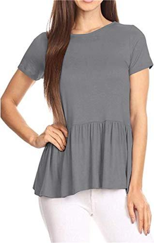 GOCHIC Women's Crew Neck Short Sleeve Ruffle Hem Peplum Tops Shirts Gray L