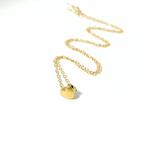 Heart Charm Pendant Dainty Necklace 14K Gold Filled 17