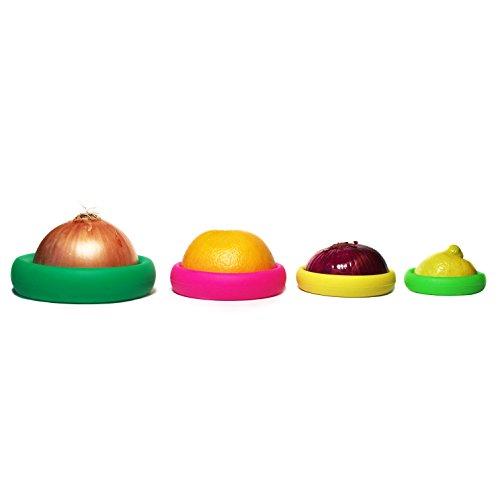 Food Huggers, Reusable Silicone Food Saver, Set of 4, Fruit and Vegetable Storage, Fresh Saver