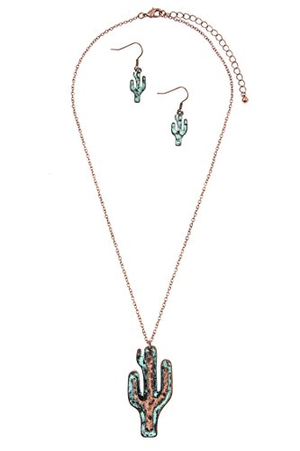 Designer Link Double Necklace (Karmas Canvas Double Link Cactus Pendant Necklace Set (Copper/Patina))