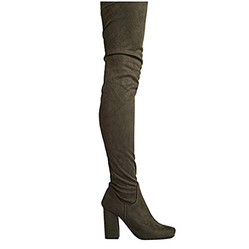 Chunky Heel Thigh High Boot Olive Suede 8.5 B(M) US