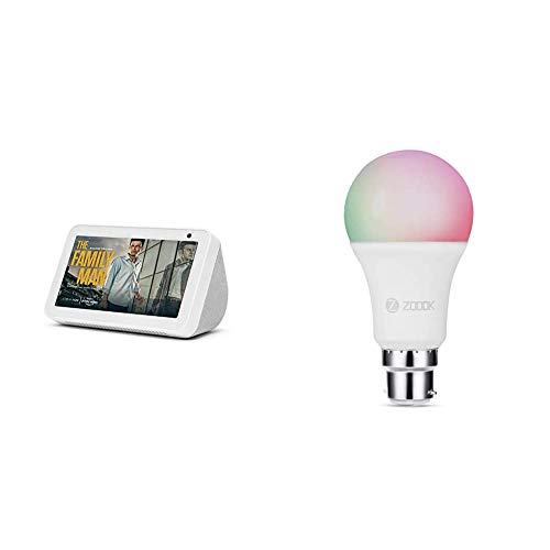 Echo Show 5 (White) bundle with Zoook 9W Smart LED Color Bulb