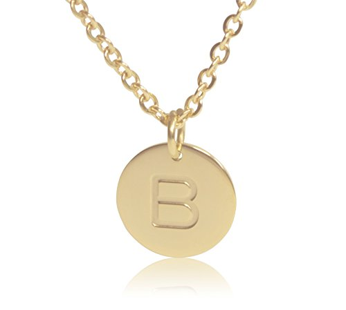 (18K Gold-Plated Round Disc Engraved Initial Pendant 18