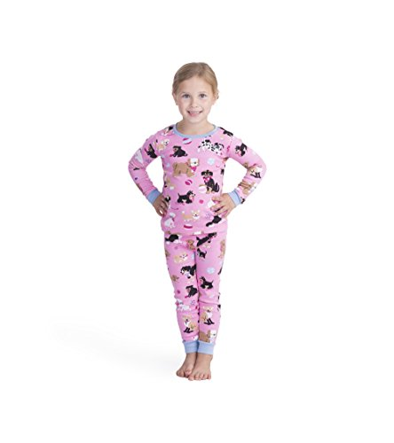 Organic Printed (Hatley Big Girls' Organic Cotton Long Sleeve Printed Pajama Sets, Cute Pups, 8 Years)