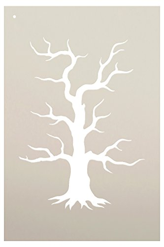 Spooky Hollow Tree Stencil by StudioR12 | Haunted Halloween Art - Mini 4 x 6-inch Reusable Mylar Template | Painting, Chalk, Mixed Media | Use for Journaling, DIY Home Decor -