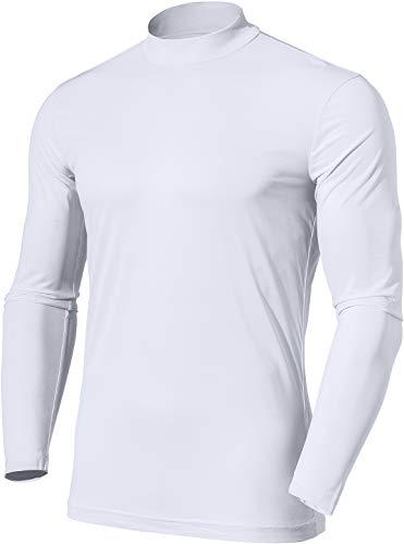 TSLA Men's UPF 50+Swim Shirt Swim Long Sleeve Tee Rashguard Top, Ultra Thin Mesh(mtl00) - White, X-Large