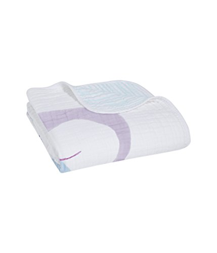 aden + anais Dream Blanket, 100% Cotton Muslin, 4 Layer lightweight and breathable, Large 47 X 47 inch, Thistle - Owlish