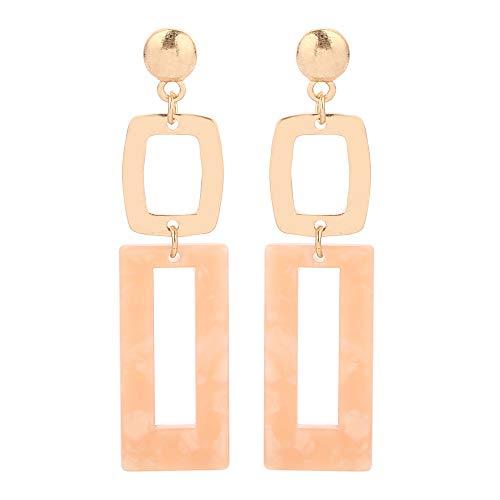 Eran Fashions Acrylic Earrings Women's Cellulose Acetate Earrings Geometric Rectangle Link Dangle Earrings (Pink) ()