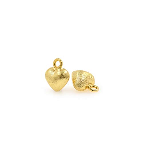 Gold Puffed Heart Charms, Matte 18K Gold Pendant,Bracelet Necklace Making Accessories 10x12mm 10Pcs (Heart Charm 12mm Puffed)