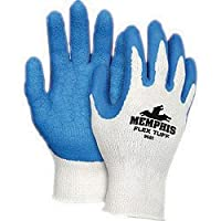 Memphis 9680S Small FlexTuff 10 Gauge Abrasion Resistant Blue Latex And Rubber Dipped Palm And Finger Coated Work Gloves With Cotton And Polyester Liner And Knit Wrist (1/PR)