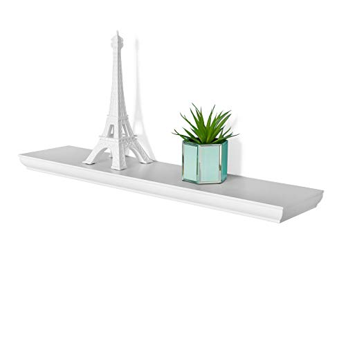 (WELLAND Wilson 24 Inch Floating Shelves, White Floating Wall Shelf for Bedroom and Bathroom, Mounting Hardware Included, 24