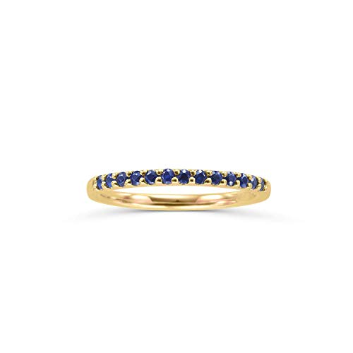 14K Yellow Gold 1/4 Cttw Genuine Blue Sapphire Stackable 2MM Wedding Anniversary Band Ring - September Birthstone, Size 5