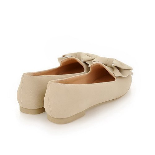 7 US M PU Bowknot Women's B Flats Beige Toe whith Pointed Solid Frosted Closed WeenFashion 61qpOFP