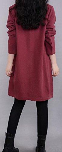 Sleeve Jaycargogo Blouse Women Long Red Mid Loose Linen Dress Relaxed Wine RSSgWnf