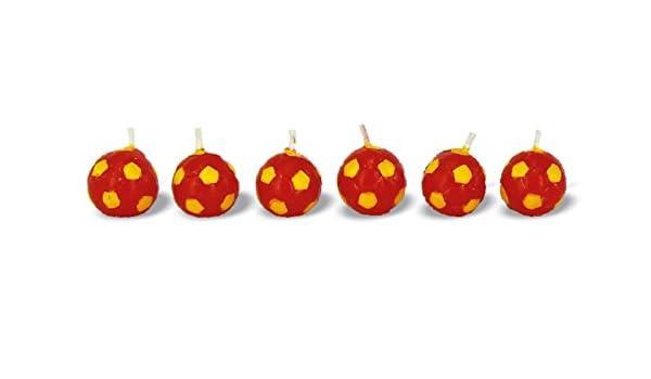 Juego de 6 velas Fútbol Balón amarillo rojo Roma: Amazon.es: Hogar