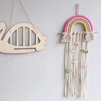 GOODCHANCEUK Rainbow Wall Hanging Decor and Baby Hair Bow Organizer Style#1 Rainbow Hair Clips Holder for Girls