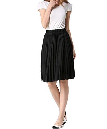 Hotgirldress Junior Girls Dancing Skirt Knee Length Chiffon Pleated A-line Womens Midi Skirts (Knee Length Pleats Skirt)