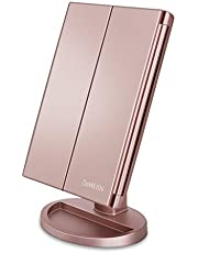 DeWEISN Tri-Fold Lighted Vanity Makeup Mirror with 21 LED Lights, Touch Screen and 3X/2X/1X Magnification Mirror, Two Power Supply Mode Tabletop Makeup Mirror,Travel Cosmetic Mirror (Rose Gold)