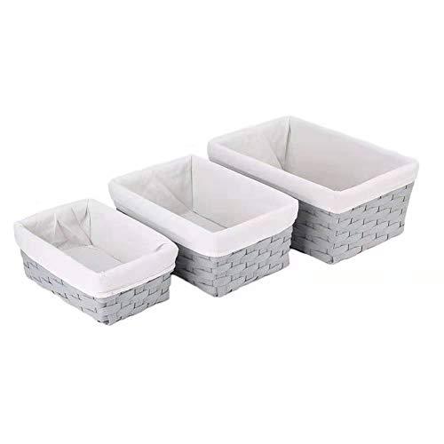 Hosroome Handmade Bathroom Storage Baskets Set Shelf Baskets with Liner Woven Decorative Home Storage Bins Decorative Baskets Organizing Baskets Nesting Baskets(Set of 3,Grey) (Bathroom Storage Baskets)