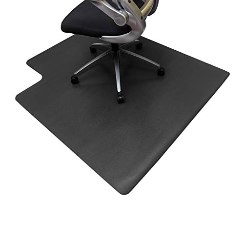 Resilia Office Desk Chair Mat with Lip - PVC Mat for Hard Floor Protection, Black, 45 inches x 53 inches, Made in The USA ()