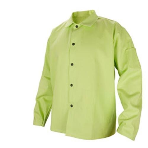 BLACK STALLION 9 oz. FR Cotton Welding Coat - 30'' Lime Green FL9-30C - 3XL by Revco