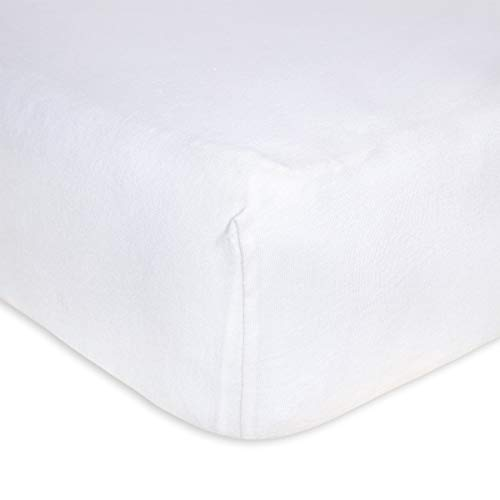 Burt's Bees Baby - Fitted Crib Sheet, Solid Color, 100% Organic Cotton Crib Sheet for Standard Crib and Toddler Mattresses (Cloud White)