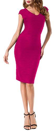 Solatin Women's V Neck Midi Slim Dresses Knee Length Party Evening Dress(S,Hotpink)
