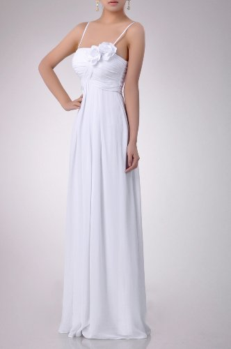 Length A line Bridesmaid Dress Long Occasion Floor Chiffon Special Kornblume Modest Blau Empire YxwtRqnp