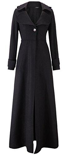 Kearia Women Elegant Long Sleeves Full length Woolen Blend Long Trench Coat Jacket Black (Long Dress Coat)