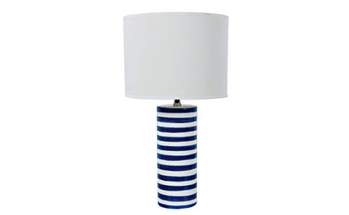 DEI White and Navy Stripe Ceramic lamp (Navy Lamps)