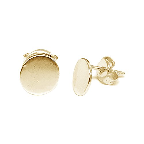 Butterfly Post Earrings (Sterling Silver Gold-Tone Overlay Round Circle Disc Geometric Stud Post Earrings 6mm)