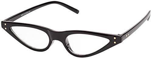 Small Retro Vintage Cat Eye Men Women Eyeglasses Black Frame, Pouch Included (Slim Cat Eye Sonnenbrille)