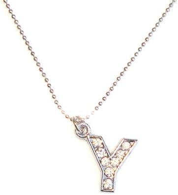 Idin Collar Colgante - Inicial Y con Diamantes de imitación. (tamaño Aprox. 40 cm)
