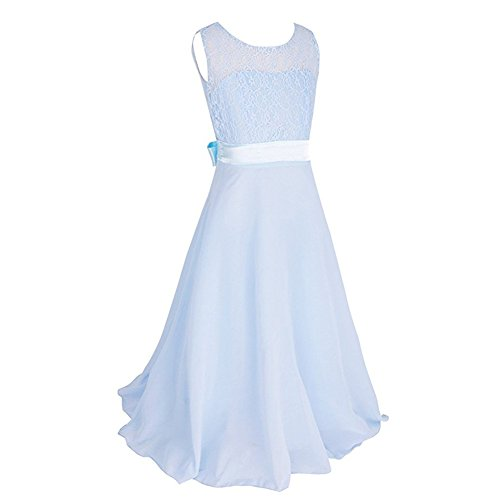 Tueenhuge Girls Wedding Dress Elegant Formal Lace Flower Dance Ball Party Dress(Light Blue,140) ()