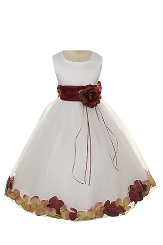 Satin Bodice Communion Flower Girl Pageant Petal Dress: Ivory/Burgundy - 4 (Sleeveless Satin Bodice)