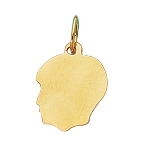 Boy Head Silhouette Charm - 14K Real Gold Boy Head Face Charm Kids Silhouette