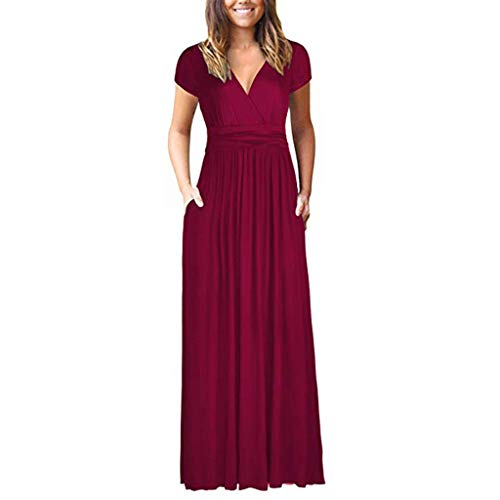 LUNIWEI Women's Round Neck Solid Shortsleeve Maxi Dresses Casual Long Dresse with Pocket Wine