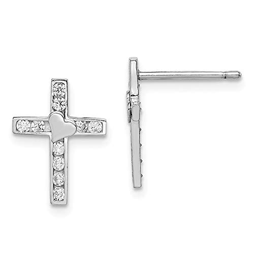Mia Diamonds 925 Sterling Silver Children Child Youth Madi K Cubic Zirconia Children Child Youth ren's Cross with Heart Post Earrings (14mm x 10mm) ()