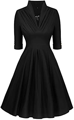 Angerella Women's Retro Half Sleeve Vintage Swing Dress