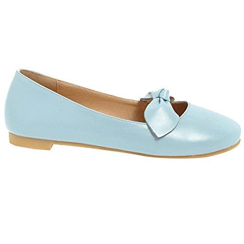 Rond Chaussure Élégant Mary Sandales Bout AIYOUMEI Jane Papillon Bleu Femme Plate Confortable a RqCUv6xUw