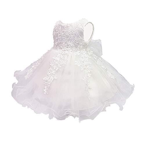 LZH Baby Girls Birthday Christening Dress Baptism Wedding Party Flower Dress (5801-White,24M)