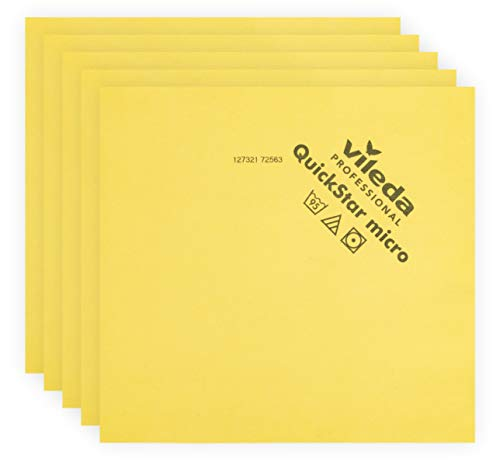 Vileda Professional | QuickStar Mircofiber Cloth | Effective Streak Free Cleaning | Removes Dust & Fingerprints | Great for Sunglasses, Televisions, Cameras, Phone & Computer Screens | 5 Pack | Yellow