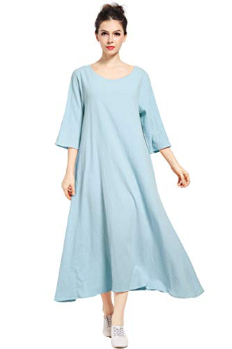 - Anysize Three Quarter Sleeve Linen Cotton Spring Summer Plus Size Dress F140A Light Blue