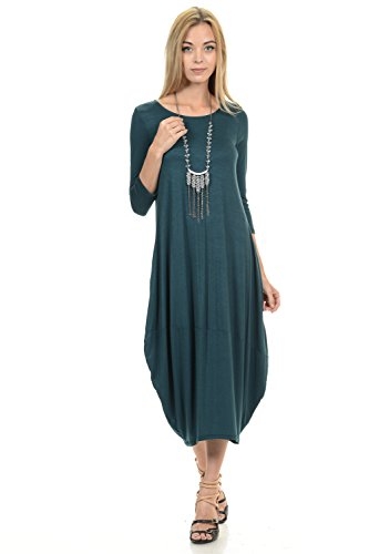 Pastel by Vivienne Women's Cocoon Midi Dress Large Hunter-Green