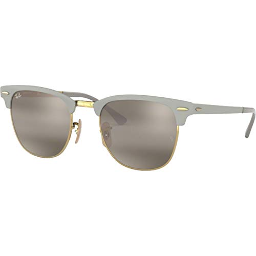 Ray-Ban RB3716 Clubmaster Metal Square Sunglasses, Matte Grey On Gold/Grey Gradient Mirror, 51 mm