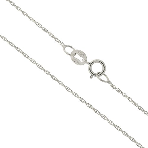 14k White Gold Italian 0.90mm Rope Chain Necklace, (14k White Gold Chain Necklace)