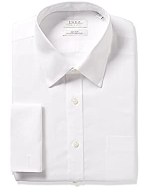 Men's Classic Fit Solid Point Collar French Cuff Dress Shirt
